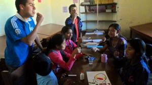 volunteer works with children in Bolivia