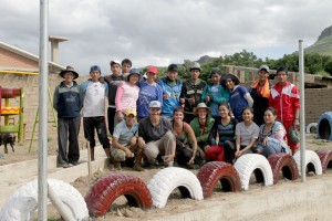 Group photo of many of the volunteers who worked on the park