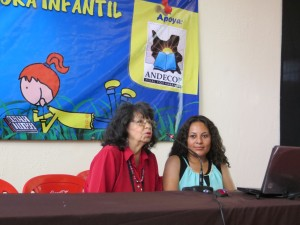 Maritza with renowned children's author, and organiser of the conference, Gaby Vallejo